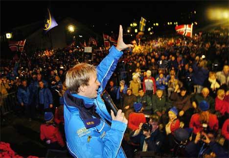 Da Petter Solberg ble verdensmester ble han mottatt som en helt i Spydeberg. (Foto Heiko Junge Scanpix)