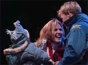 Petter, Pernilla og Oliver på scenen i Spydeberg