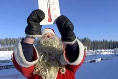 Julenissen kunne fortelle om kalde forhold i Kontiolahti i 1999. (Foto: AP/Scanpix)