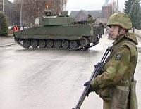 I forrige uke trente soldatene i Elverum sentrum.