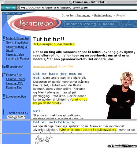(Bildet er av den omtalte websiden, og er altså ikke manipulert)