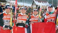 Norge tok sølv i stafetten i VM i Osrblie i 1997. (Foto: AP/Scanpix)