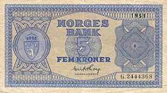 Ei femkrone frå 1950-talet. Vekeløna for ei ungjente var på 1-2 kroner, så dette var mykje pengar.