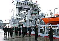 KV Normand Trym ved kai på Sortland. Det tidligere supplyskipet har fire motorer med tilsammen 12.000 hestekrefter. Foto: Forsvaret.