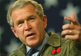 President George W. Bush vil ikke at krigsmotstanderne skal få amerikanske penger til gjenoppbygging av Irak. Arkivfoto: Scanpix.