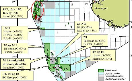 Kart over tildelingene i Nordsjøen, der BP, Talisman og Hydro har fått arealene nærmest Sørlandet.