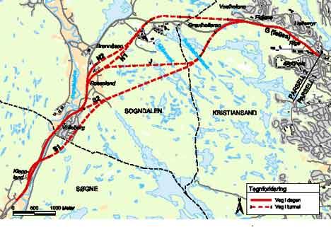 Alternativene på parsell 2 - Hannevikdalen - Kleppland