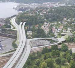 Løsning fra Gartnerløkka og vestover, med en ekstra bro i forhold til i dag.