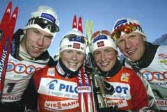Håvard Bjerkeli, Hilde G. Pedersen, Marit Bjørgen og Tor Arne Hetland gikk alle videre til kvartfinalene. (Foto: Jon Eeg / SCANPIX)