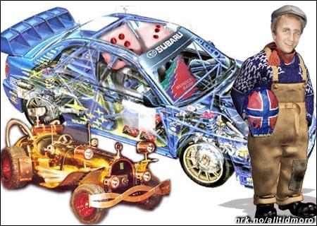 Petter Solberg har fått designe sin nye bil helt selv. Reodor Felgens bil blir liten i forhold.