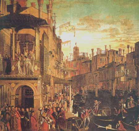 "Vittore Carpaccio malte ""Miraklet ved det hellige kors relikvie"" i 1594-95."