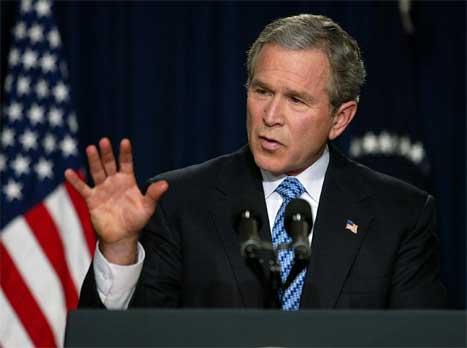 USAs president George W. Bush på pressekonferansen i Det kvite hus i ettermiddag. (Foto: AFP-Scanpix)