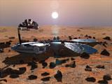 Sånn tenker man seg at Beagle 2 ser ut når den har landet på Mars-overflaten. Ill.: ESA