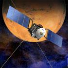 Tegning av Mars Express som nærmer seg Mars. Ill.: ESA