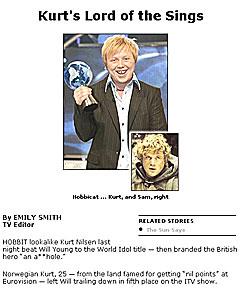 Kurt Nilsen blir sammenlignet med hobbiten Sam fra Ringens Herre hos den britiske tabloiden The Sun. Men hvor like er de egentlig? Foto: The Sun.