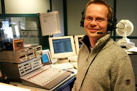 Haugesundsmannen Per Øystein Kvindesland (33) er éin av NRK Rogalands fem morgonvertar. (Foto: Jon-Annar Fordal)