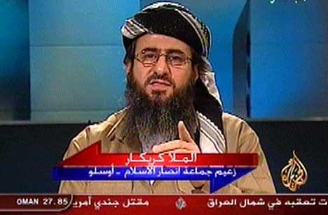 Mulla Krekar slik han framstod på tv-stasjonen Al Jazeera for ikke så lenge siden.