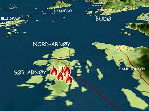 Kartet over brannstedene på Sørarnøy. Grafikk: Odd Brembo, NRK.
