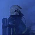 Tungt utstyr i røyken.