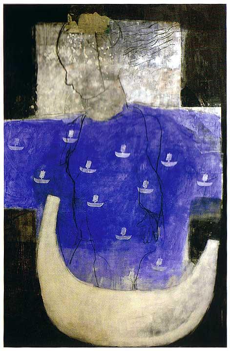 """Brynhild Bye Tiller: """"Kvinne under seil"""" - akryl, fotografi, kull på lerret. 2001"""