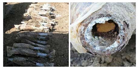 Granatene danskene fant og gravde opp, er her samlet ved i vei ved Basra (Scanpix/Reuters)