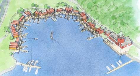 Slik kan Hankø bli hvis det blir bygget. Illustrasjon: MAKE Arkitekter as