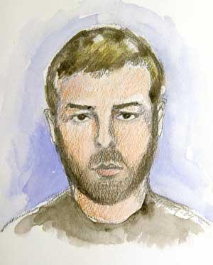 Tiltalte Mijailo Mijailovic var ubarbert då han kom til rettssaka. (Teikning: Reuters/Scanpix)