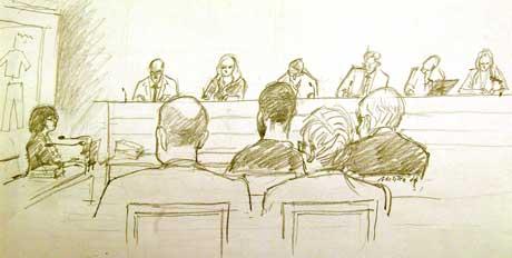 Teikning frå rettssaka. Aktor Agneta Blidberg til venstre. Tiltalte ubarbert i midten med ryggen til. (Ill.: Reuters / Scanpix)