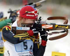 Kati Wilhelm gikk siste etappe for Tyskland. (Foto: AP/Scanpix)
