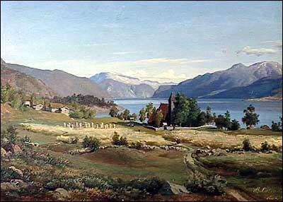 Måleri frå Tjugum medan gamlekyrkja endå stod. Den var frå 1724 eigd av presten Leganger.