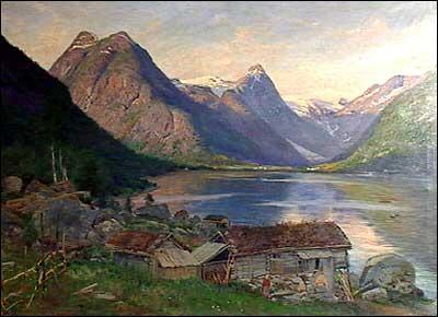 Gamalt måleri av Hamrum ved Fjærlandsfjorden.