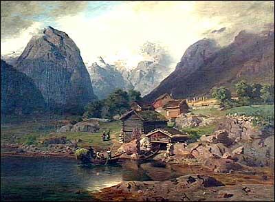 Gamalt måleri frå Tjugum i Balestrand.