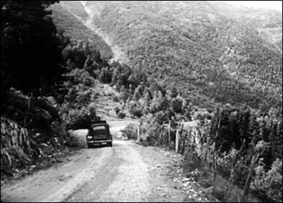 Rikvegen rundt Vetlefjorden sto ferdig i 1951. (Foto: Norsk Film/NRK 1951)