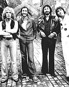 The Who i 1976 (f.v.): Roger Daltrey, Pete Townshend, John Entwistle og Keith Moon. Entwistle døde i juni 2002. Foto: AP Photo / ho.