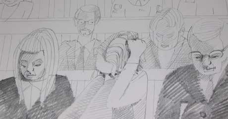 Tiltalte satt med hode mellom bena under store deler av ankesaken tirsdag. T.v forsvarer Venil Katharina Thiis, mens forsvarer Knut Kvande sitter på andre siden. Tegning: Knut Løvås.