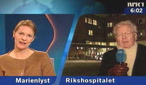 NRKs Gry Blekastad Almås og Geir Helljesen onsdag morgen. (Foto: NRK)