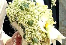 Brudebuketten til Prinsesse Märtha Louse og Ari Behn da de giftet seg i Nidarosdomen. (Foto: Scanpix)