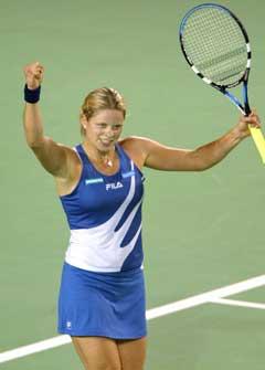 Kim Clijsters jubler etter å ha slått Patty Schnyder. (Foto: AFP/Scanpix)
