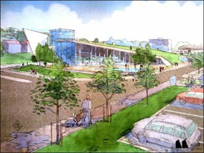 Kosbergs arkitektkontor foreslår at folkebadet blir seende slik ut.