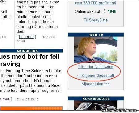 Januar 2004: TV2 Nettavisen går inn for hardere straff for fyllekjøring. (Innsendt av Oddgeir Sæther)