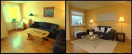 Stuen, før og etter.