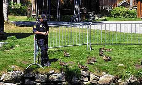 Politi med maskinpistol brøt med det idylliske bildet vi har av Moldejazz. Nå får festival økonomisk oppreisning. Foto: Arne Kristian Gansmo, NRK.
