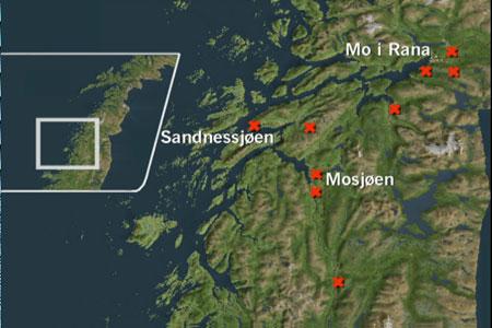 Slik er bomstasjonene tenkt plassert i den opprinnelige Veipakke Helgeland.
