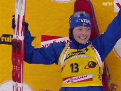 Liv Grete Skjelbreid Poiree, gullvinner i VM i 7,5 km sprint. Foto: NRK.