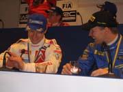 Konkurrenter på veien, men kompiser ellers. Sebastién Loeb og Petter Solberg. ( Foto: NRK Østfold )