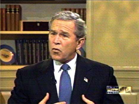 FORSVARER: President Bush forsvarte avgjørelsen om å gå til krig mot Irak under et intervju på amerikanske fjernsyn i dag. (Foto: AFP PHOTO/NBC)
