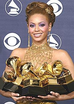 Beyonce Knowles innkasserte fem Grammy-priser for blant annet blant annet beste kvinnelige rhythm and blues-opptreden med låten