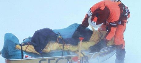 Puls skal snakke med Børge Ousland om forfrysning. Her er fra turen over Antarktis. Foto: Scan-Foto/Alpha Beta Media