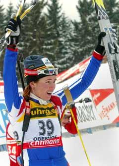 Olga Pyleva jubler over seieren. (Foto: AP/Scanpix)