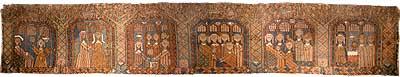 Hafsloteppet vart vove tidleg på 1600-talet, og er utstilt ved Bergen Museum. (Foto: Arild Nybø, NRK)